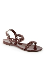 Givenchy Nea Jelly Flat Sandals Burgundy White Black Nude