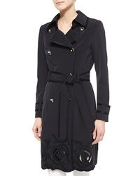 Escada Floral Embroidered Trench Coat Black