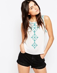 Brave Soul Sleeveless Vest Top With Embroidered Detail Whitepeacockblue