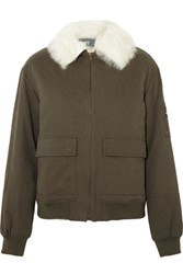 Yves Salomon Shearling Trimmed Cotton Twill Bomber Jacket Army Green