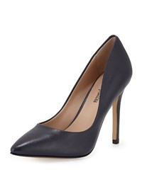 Neiman Marcus Prestige Leather Pointed Toe Pump Navy