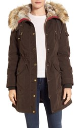 1 Madison Women's Parka With Faux Fur Trim Hood Dark Olive