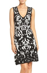 Adelyn Rae Women's Print Fit And Flare Sweater Dress