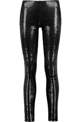 Donna Karan Sequined Stretch Jersey Leggings Black