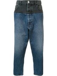 Vivienne Westwood Man Bi Colour Cropped Jeans Blue