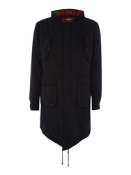 Merc Tobias Casual Full Zip Parka Coat Black