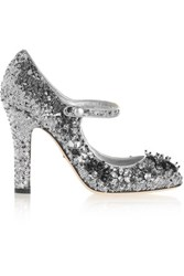 Dolce And Gabbana Sequined Velvet Mary Jane Pumps Silver