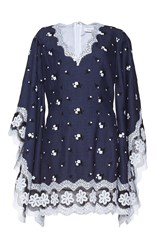 Andrew Gn Floral Embroidered Mini Dress Blue