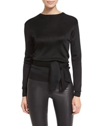 Cushnie Et Ochs Crewneck Open Back Wrap Top Black