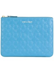 Comme Des Garcons Embossed Zipped Clutch Blue