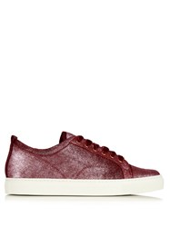 Lanvin Metallic Leather Low Top Trainers Pink
