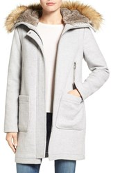 Vince Camuto Women's Wool Blend Duffle Coat With Faux Fur Trim Hood