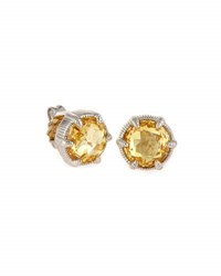 Judith Ripka Eclipse Stud Earrings In Canary Crystal No Color