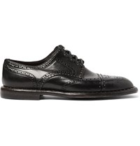 Dolce And Gabbana Studded Distressed Leather Wingtip Brogues Black