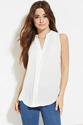 Forever 21 Flat Collared Crepe Top White