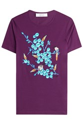 Carven Embroidered Cotton T Shirt Purple