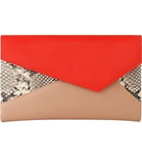 Lk Bennett Lola Leather Envelope Clutch Ora Orange