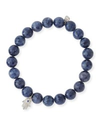 Sydney Evan 7Mm Beaded Indigo Sapphire Bracelet With Diamond Hamsa Charm