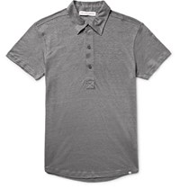 Orlebar Brown Branigan Slim Fit Slub Linen Polo Shirt Anthracite