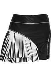 Jay Ahr Two Tone Pleated Leather Mini Skirt Black
