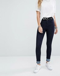 Noisy May Lexi High Rise Skinny Jeans Dark Wash Blue