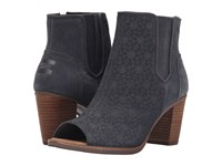 Toms Majorca Peep Toe Bootie Dark Grey Suede Embossed Women's Toe Open Shoes Black