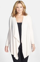 Plus Size Women's Barefoot Dreams Drape Front Cardigan Pink