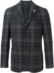 Lardini Casual Checked Blazer Grey