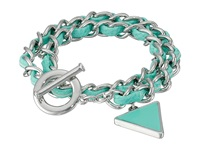 Guess Woven Chain Wrap Around Toggle Convertible Bracelet Silver Mint Bracelet Green