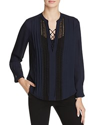 Rebecca Taylor Silk Georgette Lace Up Blouse Navy