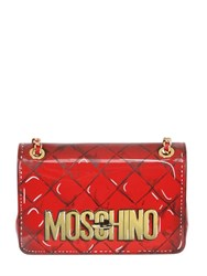 Moschino Printed Patent Leather Shoulder Bag