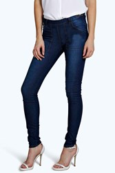 Boohoo Low Rise Side Zip Skinny Jeans Indigo