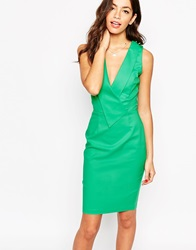 Paper Dolls Paperdolls Pencil Dress With Origami Pleats Green