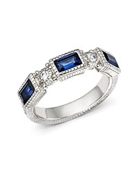 Judith Ripka Narrow Estate Triple Baguette Ring With White Sapphire And Blue Corundum Blue Silver