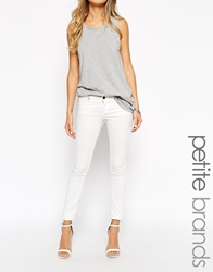 Noisy May Petite Low Waist Skinny Jeans White