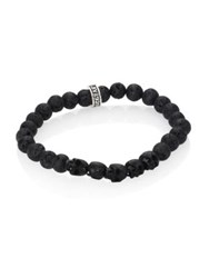 King Baby Studio Sterling Silver And 8Mm Lava Rock Bead Bracelet Black