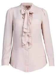 Jolie Moi Bow Tie Neck Ruffle Front Shirt Nude