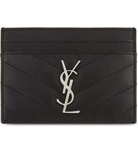 Saint Laurent Monogram Quilted Leather Card Holder Black
