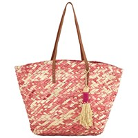 White Stuff Straw Tote Bag Ombre Pink