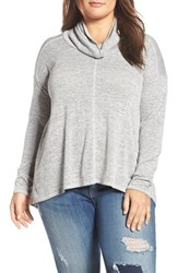 Lucky Brand Plus Size Women's Cowl Neck Tunic Heather Grey