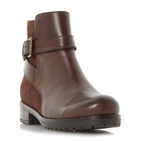 Linea Pearlie Mixed Material Ankle Boots Brown