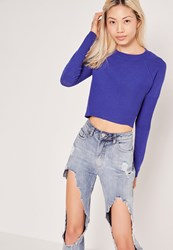 Missguided Contrast Knit Long Sleeve Jumper Colbalt Blue Blue