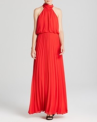 Aqua High Neck Blouson Pleated Skirt Gown Bloomingdale's Exclusive