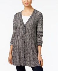 Styleandco. Style Co. Ribbed V Neck Cardigan Only At Macy's Deep Black Combo