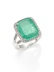 John Hardy Classic Chain Diamond Emerald And Sterling Silver Ring