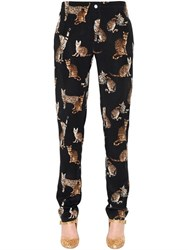 Dolce And Gabbana Zambia Print Silk Crepe De Chine Pants