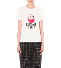 Chocoolate Cupcake Print Cotton T Shirt White