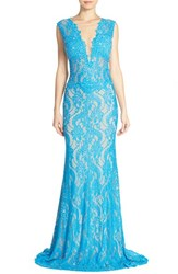 Women's Jovani Embellished Illusion Lace Gown