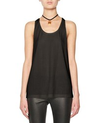 Tom Ford Scoop Neck Tank Top W Leather Padlock Embellishment White