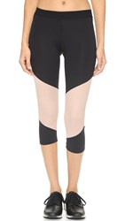 Lna Active Division Cropped Leggings Black Nude Mesh